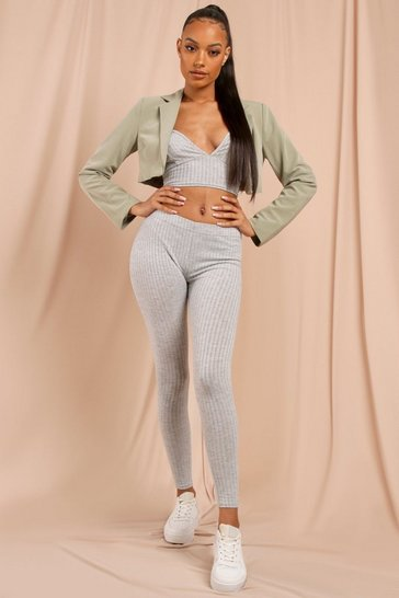 Grey Strappy Crop Top Legging Set