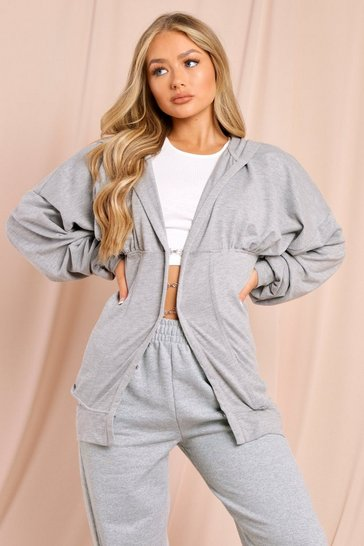 Grey Hooded Corset Detail Jacket