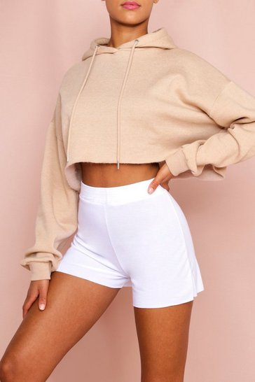 White Ruched Waist Loop Back Sweat Short