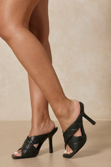 Black Quilted Cross Strap Heeled Mules