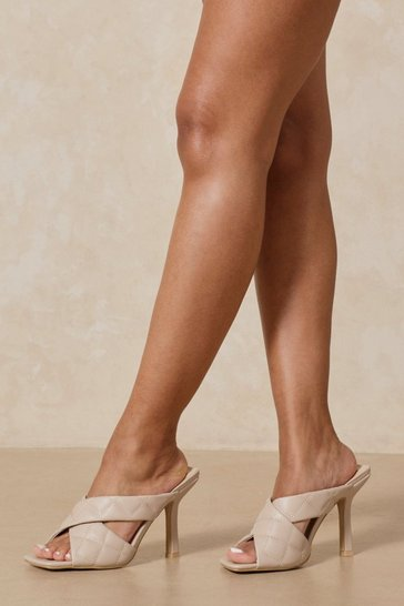 Nude Quilted Cross Strap Heeled Mules
