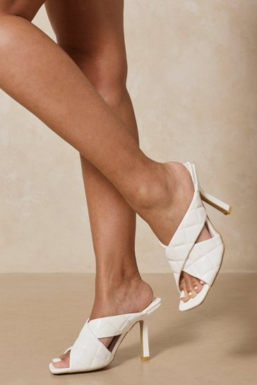 White Quilted Cross Strap High Mules