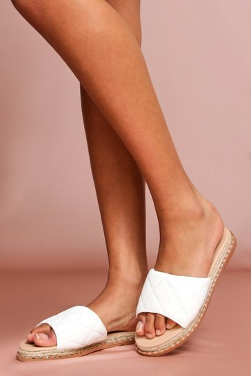 White Quilted Stud Detail Slides