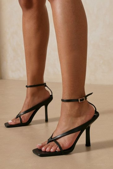Black Cross Over Heeled Thong Sandals