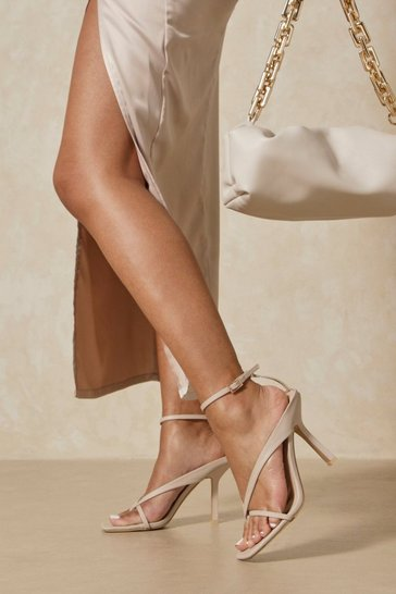 Nude Cross Over Heeled Thong Sandals
