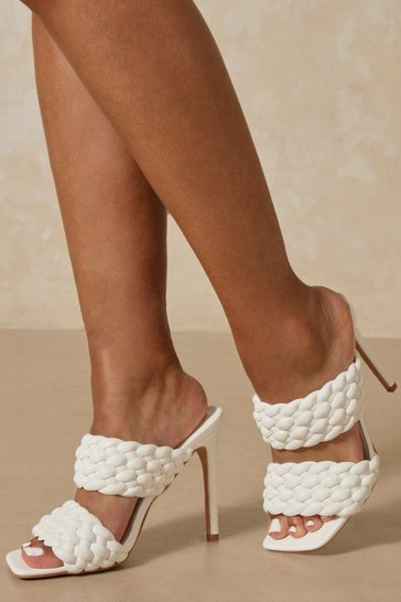 White Double Strap Square Toe Mules