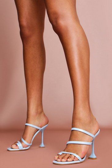 Blue Strappy Cake Stand Heel Mules