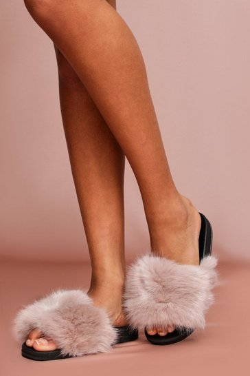 Mink Faux Fur Sliders
