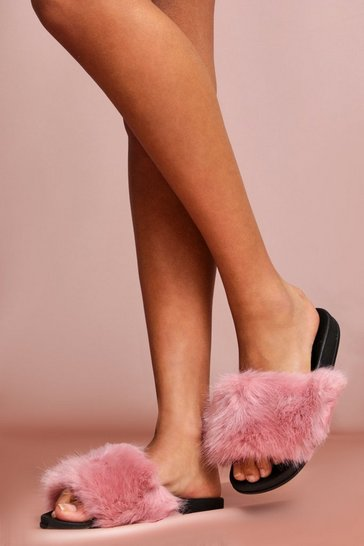 Pink Faux Fur Sliders