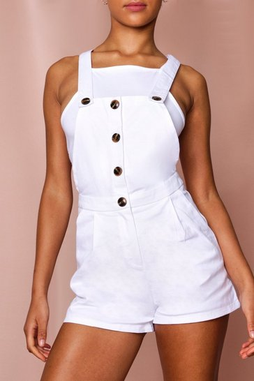 White Button Front Denim Dungaree