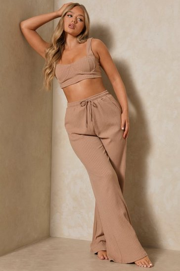 Stone Ribbed Bralet and Wide Leg Co-ord Lounge Set