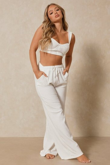 White Ribbed Bralet and Wide Leg Co-ord Lounge Set