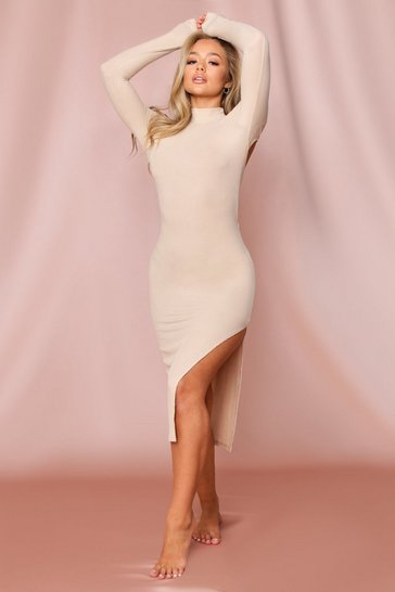 Nude Ribbed Midi Open Back Dress