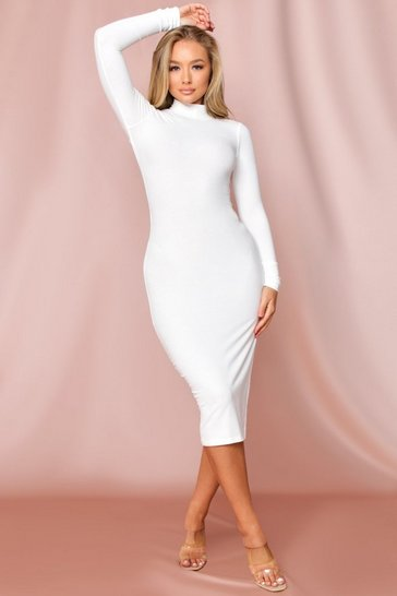 White Ribbed Midi Open Back Dress