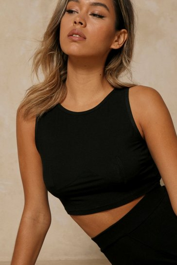 Black Ribbed Seam Detail Tank Top
