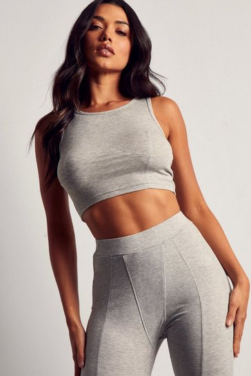 Grey Ribbed Seam Detail Tank Top