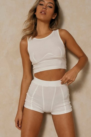 White Premium Ribbed Gusset Detail Short