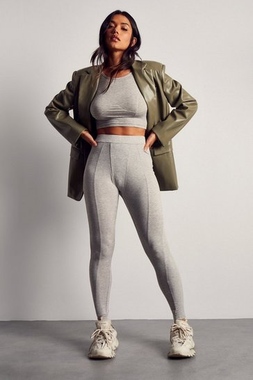 Grey Ribbed Gusset Detail Rib Legging