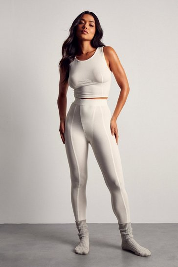 White Ribbed Gusset Detail Rib Legging