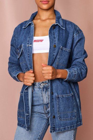 Blue Utility Pocket Longline Denim Jacket