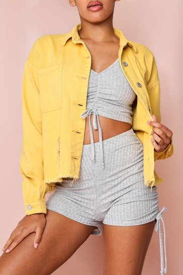 Lemon Oversized Washed Denim Jacket