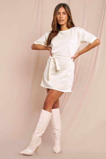 Cream Tie Waist Loopback Sweat Dress