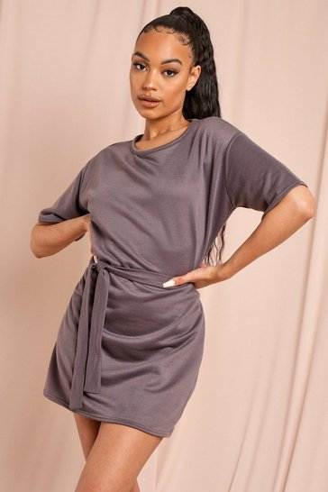 Grey Tie Waist Loopback Sweat Dress
