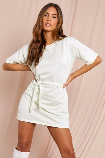 Mint Tie Waist Loopback Sweat Dress