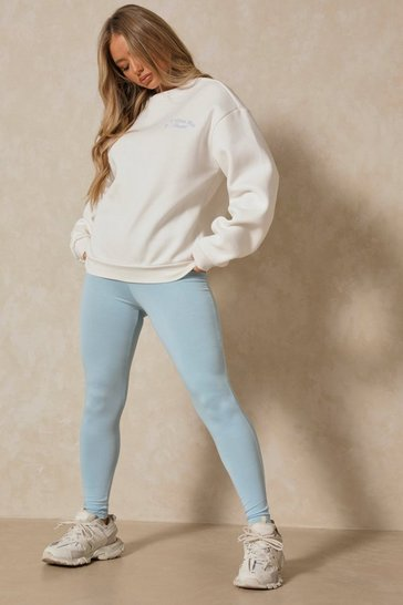 Blue Deep Waistband Jersey Leggings