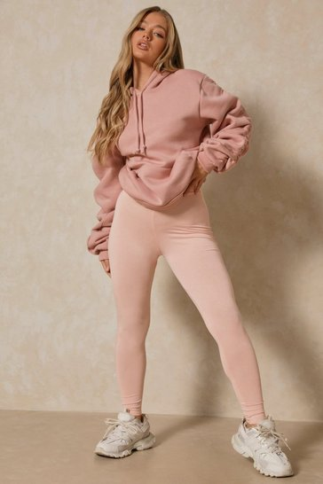 Peach Deep Waistband Jersey Leggings