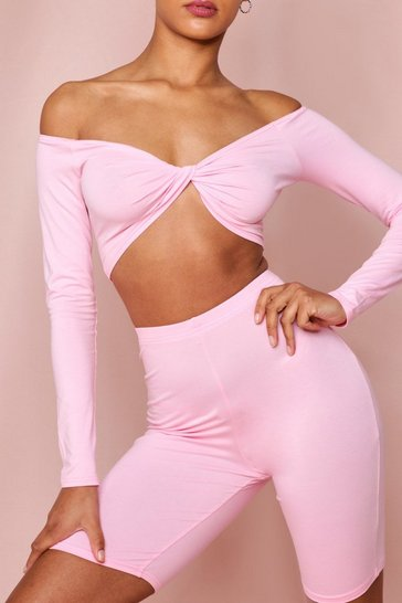 Pink Twist Front Vest Crop Top