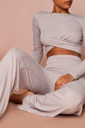 Grey Ribbed Twist Front Wide Leg Co-Ord