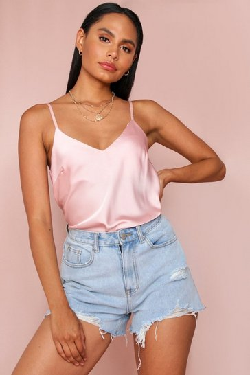 Pink Satin Cami Vest Top