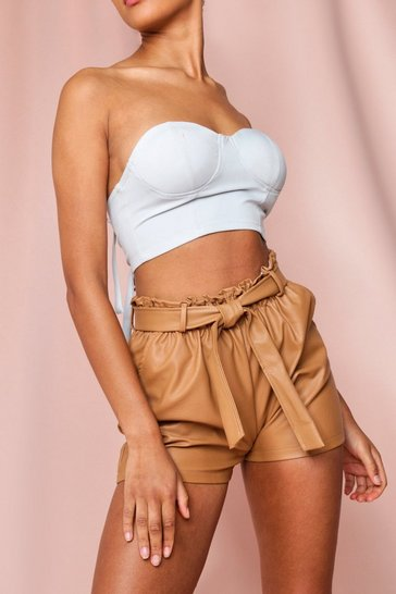 Camel Leather Look Paper Bag Shorts