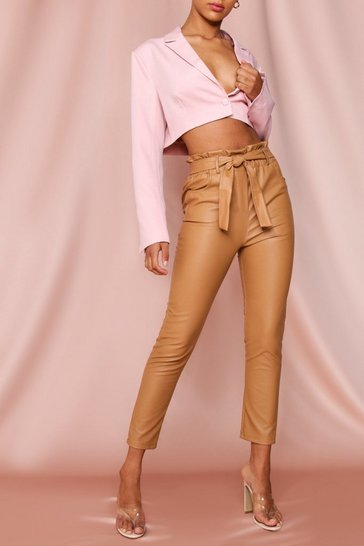 Camel Leather Look Paper Bag Trousers