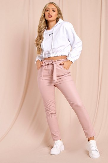 Pink Faux Leather Paper Bag Pants