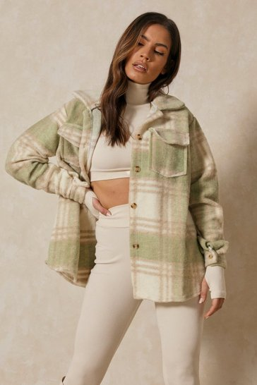 Green Oversized Checked Jacket