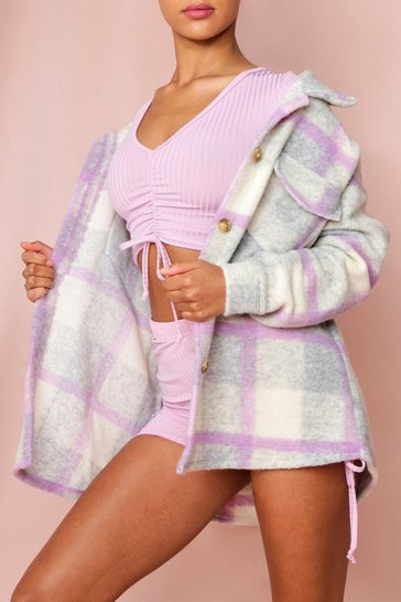 Lilac Oversized Checked Jacket