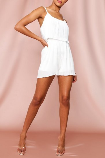 White Pleated Strappy Playsuit