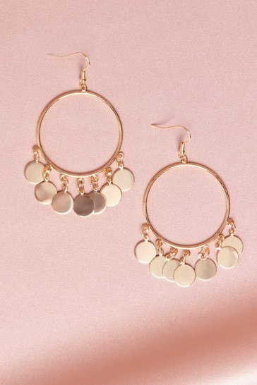 Gold Coin Detail Statment Earrings