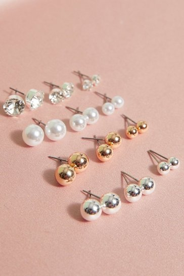 Multi 12 Pack Mixed Diamante And Pearl Stud Earrings