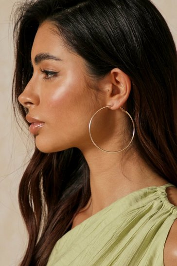 Gold Plain 6.5cm Hoop Earrings