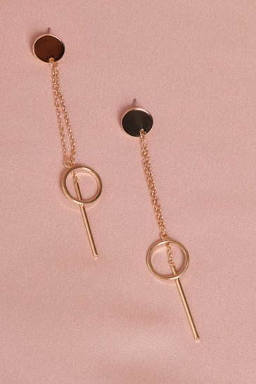 Gold Circle Drop and Double Chain Earring