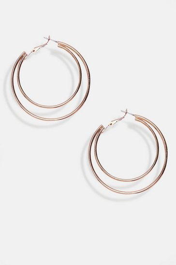Gold Double Ring Twist Detail Earrings