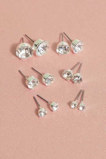 Silver 6 Pack Diamante Earrings