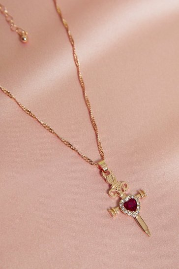 Gold Twist Chain Ruby Dagger Necklace