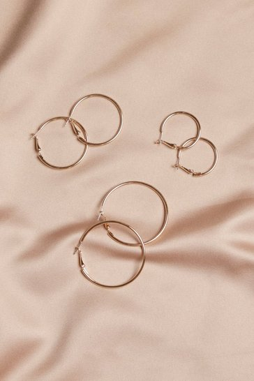Three Pack Gold Assorted Hoop Earrings