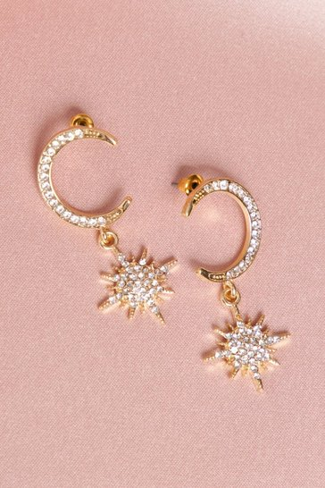 Gold Half Moon And Star Diamante Earrings
