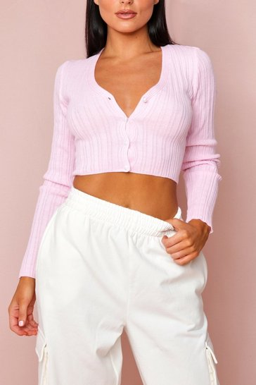 Baby pink Fine Knit Ribbed Cropped Cardigan