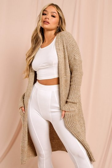 Camel Oversized Knitted Cardigan